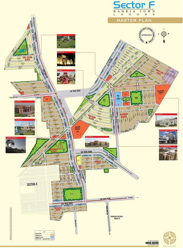 Bahria Town Sector F Lahore - Master Plan Detail Map (Small)