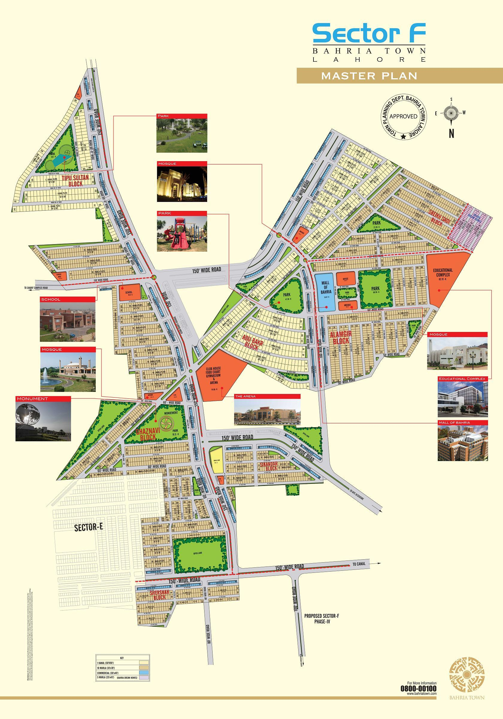 Bahria Town Sector F Lahore Master Plan Detail Map fjtown