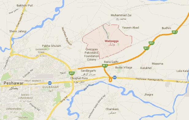 DHA Pesahwar Locatiom Map Wodpaga Area Near Motorway, Northern bypass