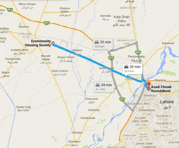 Location Map and Route Map - Ecommunity Housing Scheme Sheikhupura to Lahore Azadi Chowk (Minar-e-Pakistan)