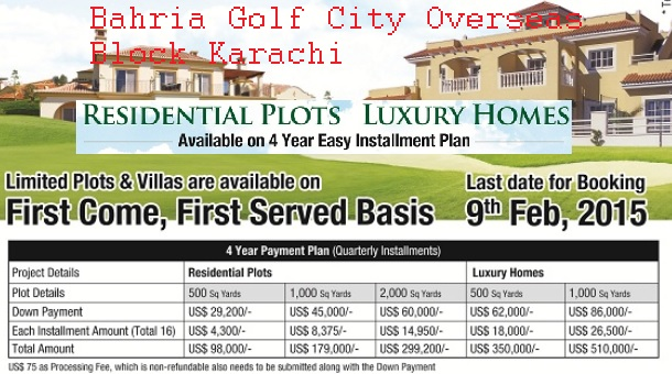 Bahria Town Golf City Overseas Block 4 year Installment Price Plan