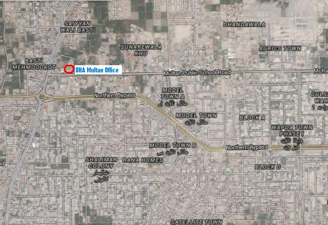 DHA Multan New Office Location Map 1-Multan Public School Road