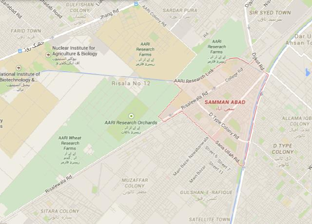 Location Map Samman Abad Faisalabad, Sitara Colony, D Type Colony