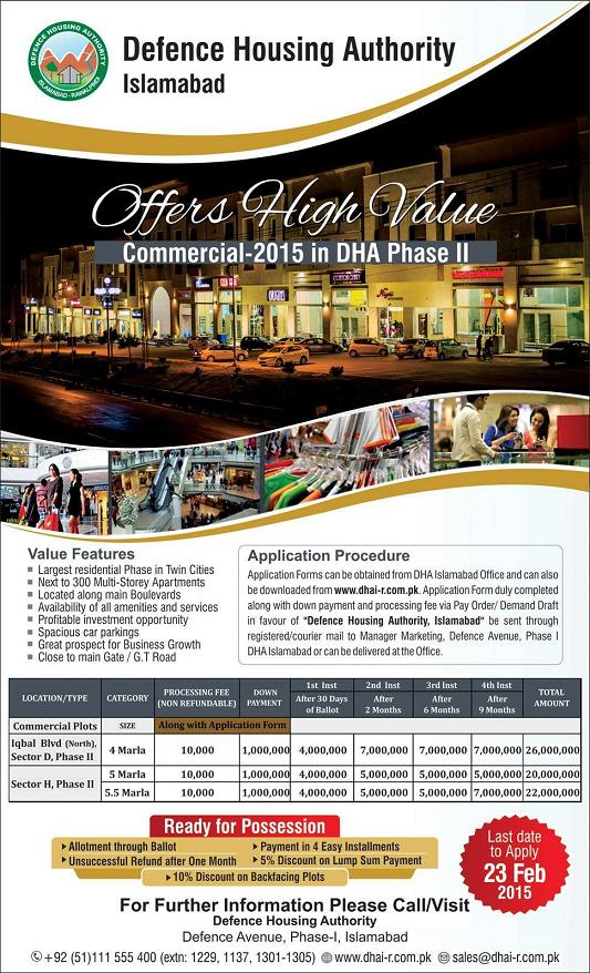DHA Islamabad Commercial Plots For Sale in Phase-II