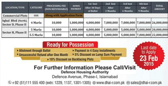 DHA Islamabad Commercial Price Payment Plan 2015