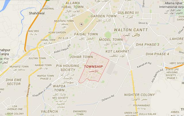 Quaid e Azam Town, Township Lahore Location Map