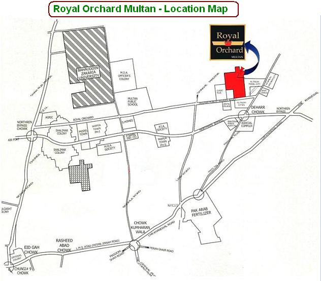 Royal Orchard Multan Location Map