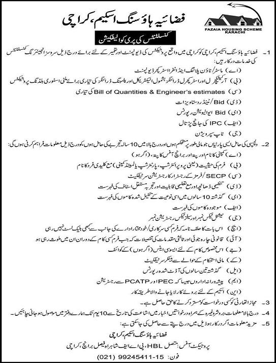 Fafaia Housing Karachi Required Pre-Qualification of Engineering Consultants