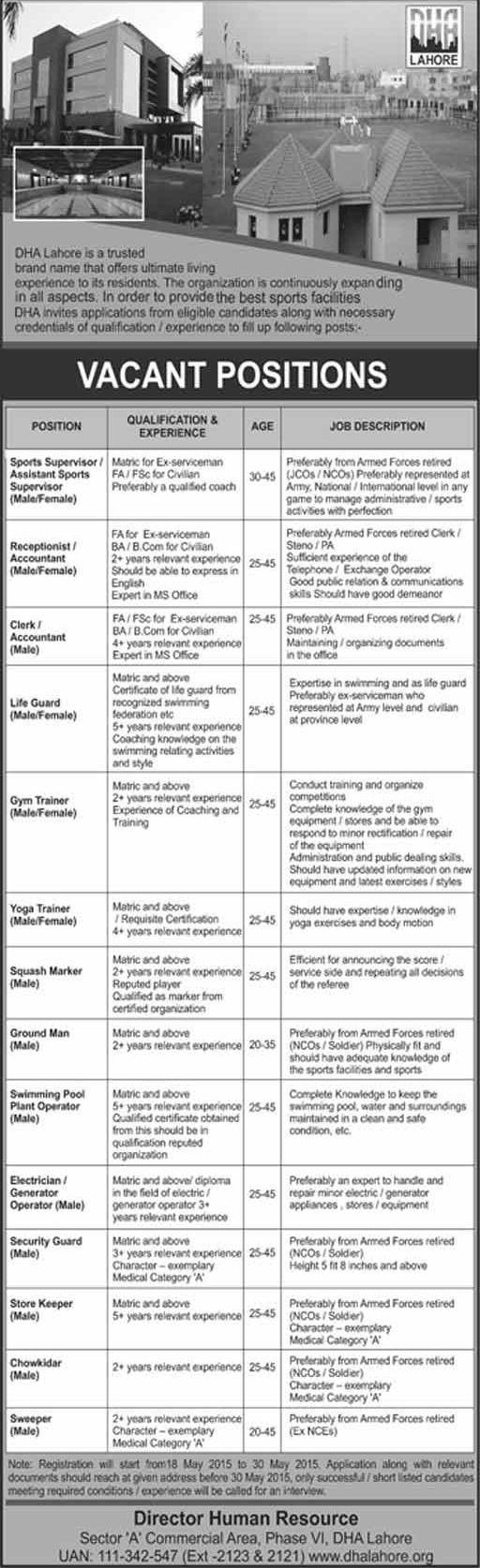 DHA Lahore Jobs in Sports Department - Registration Starts on May 18, 2015