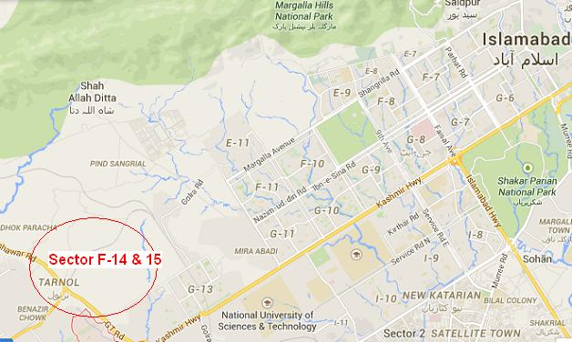 Location Map - Sector F-14 and Sector F-15 Islamabad for Govt Employees