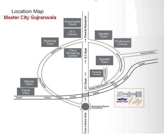 Master City Gujranwala Location Map