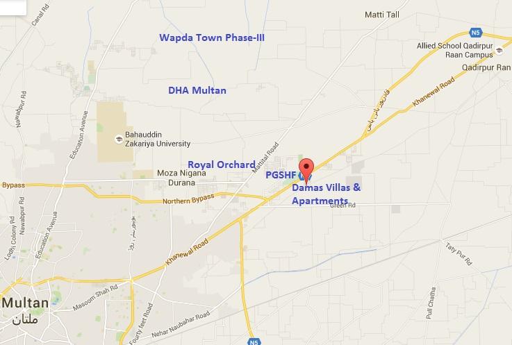 Damas Villas and Apartment Multan Location Plan at China Town Opposite PGSHF Housing Scheme