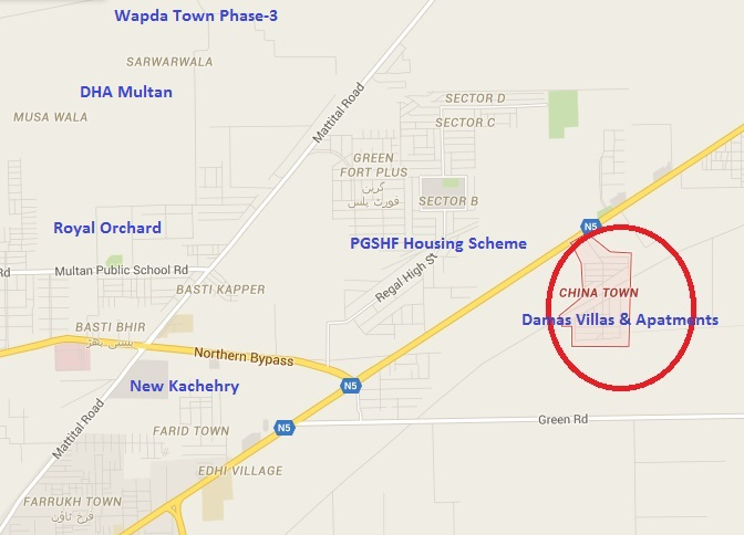 Damas Villas and Apartment Multan Location Plan at China Town Opposite PGSHF Housing Scheme Multan