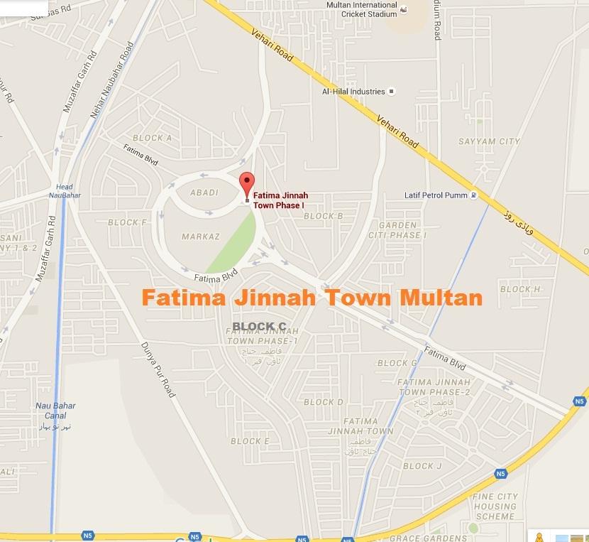 Fatima Jinnah Town Multan Detail Map Latest on Sep 6, 2015