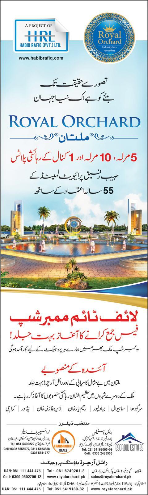 Royal Orchard Announces New Housing Schemes in 7 Cities of Pakistan