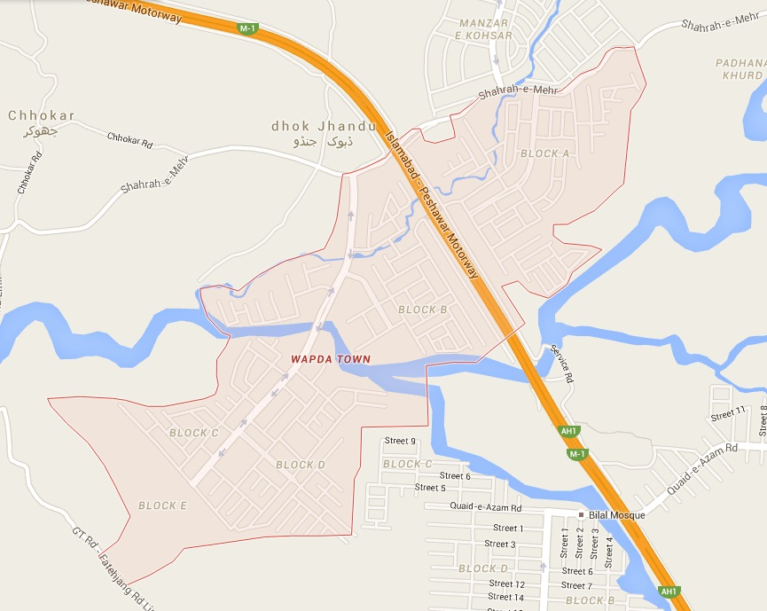 WAPDA Town Islamabad-Rawalpindi Location Map