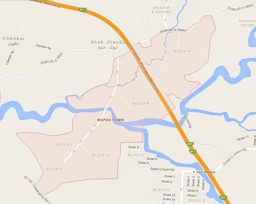 WAPDA Town Islamabad-Rawalpindi Location Map