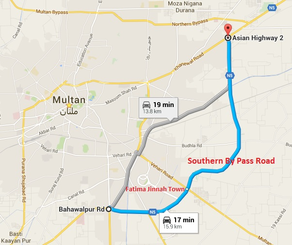 Proposed Location of Allama Iqbal Town Multan at Southern Pay-pass