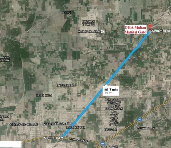 DHA Multan Mattital gate Satellite Location Map