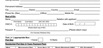 Application Form for DHA Peshawar Phase-I