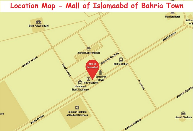 Bahria Mall of Islamabad - Location Map