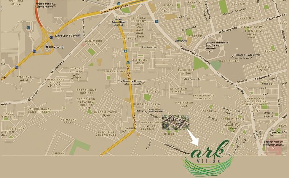 Ark Villas Housing Scheme Lahore - Location Map
