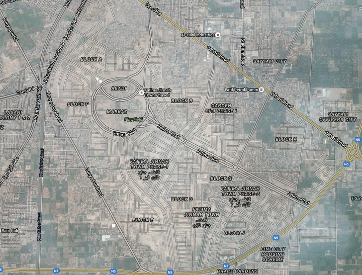 Fatima Jinnah Town Multan - Latest Satellite Google Map 13-01-2016