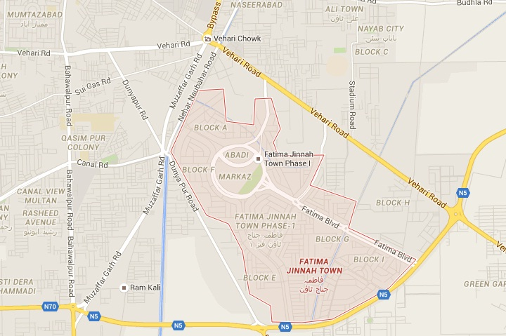 Fatima Jinnah Town Multan Map