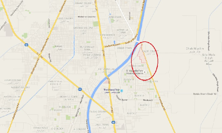 Proposed Location of New Housing Scheme in Gujranwala at Pipliwala