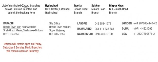 UBL Bank Branches and Bahria Town Booking Offices
