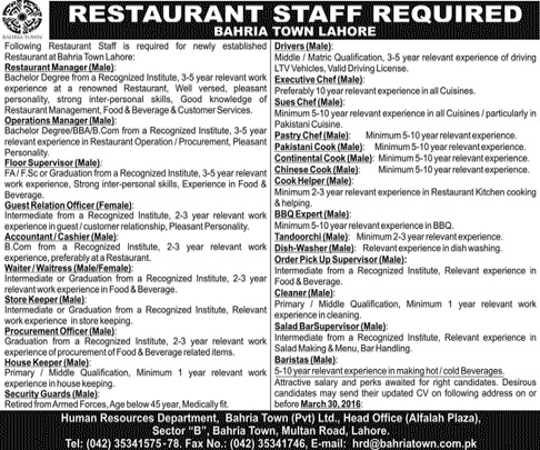 Bahria Town Lahore Required Staff for Restaurant