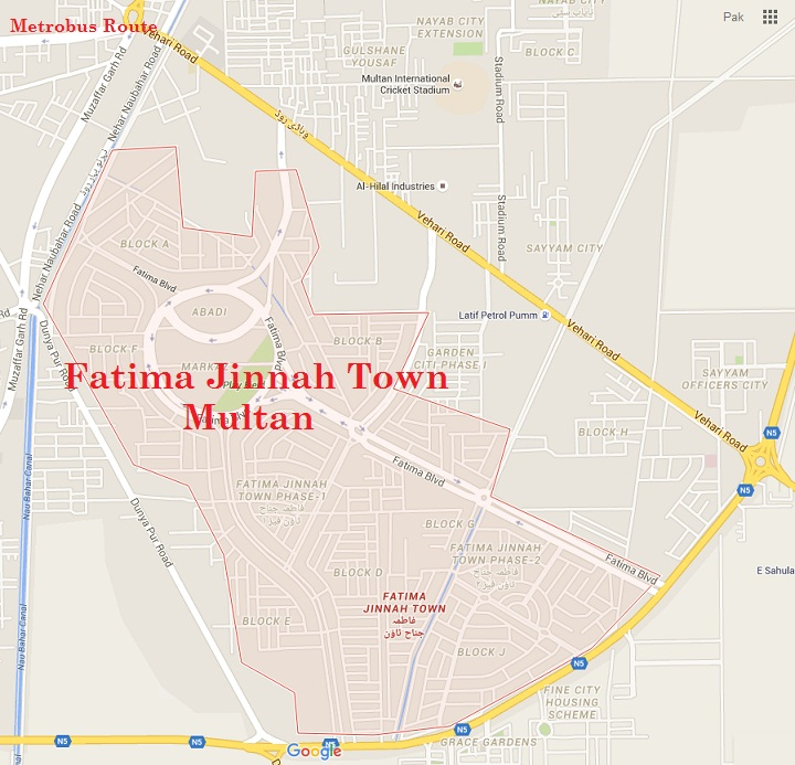 Fatima Jinnah Town Multan Phase 1 and Phase 2 Complete Google Map