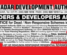 Gwadar's Dead Housing, Commercial, Industrial and Recreational Schemes