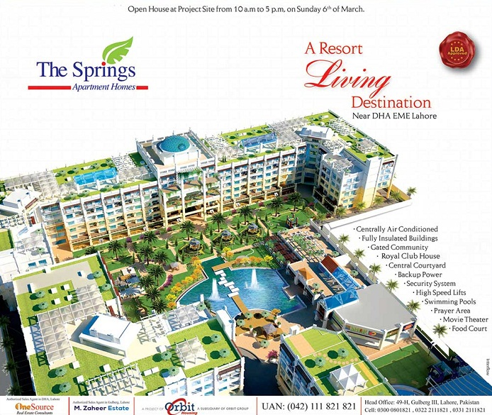 Springs Apartments Homes Lahore Near DHA EME