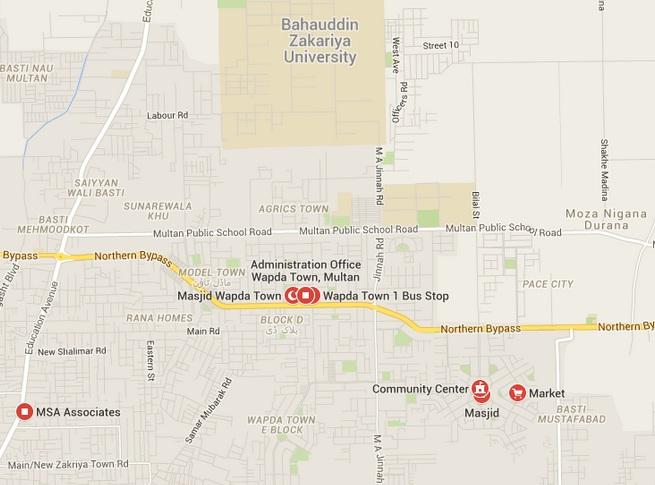 WAPDA Town Multan Office - Location Map