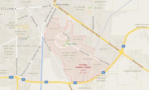 Fatima Jinnah Town Multan - Master Plan Complete Map