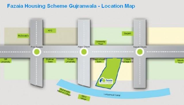Fazaia Housing Scheme Gujranwala - Location Map
