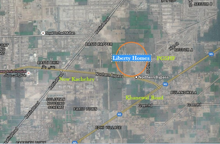 Liberty Homes Multan - Location Map Near PGSHF, Royal Orchard and new Kachehry
