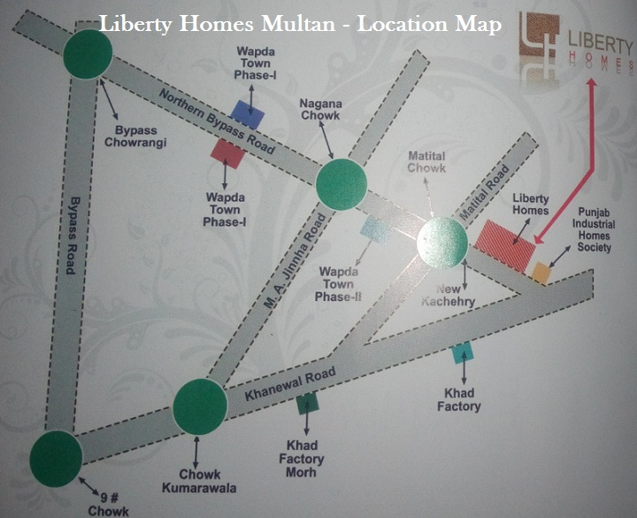 Liberty Homes Multan - Location Map