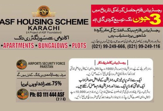 ASF Housing Scheme Karachi - Registration of Apartments, Bungalows and Plot till last Date of June 3, 2016