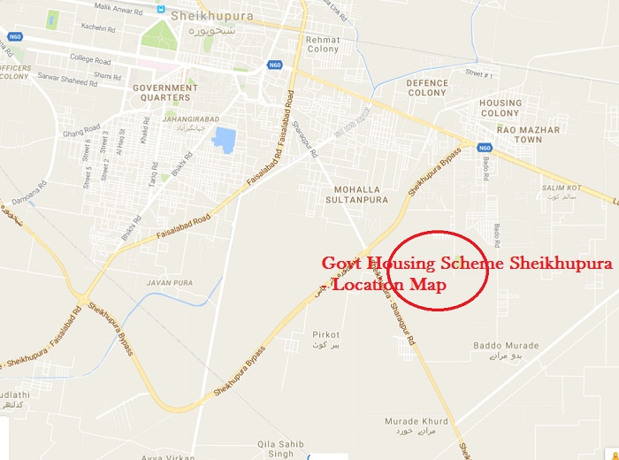 Govt Housing Scheme Sheikhupura - Location Map