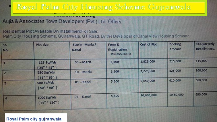 Royal Palm City Housing Scheme Gujranwala - Payment Plan/Schedule