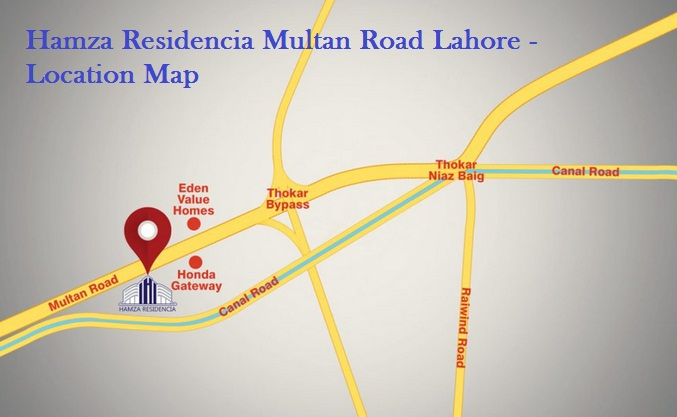 Hamza Residencia Multan Road Lahore - Location Map