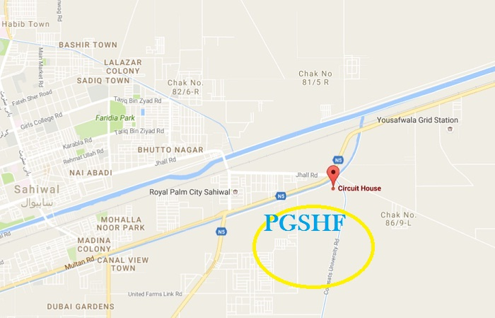 PGSHF Sahiwal Near Circuit House Multan-Lahore Road - Location Map
