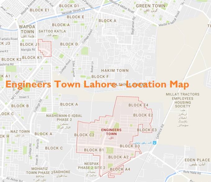Engineers Town Lahore - Location Map
