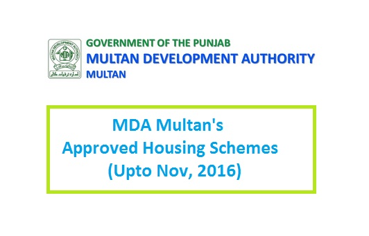 MDA Multan Approved Housing Schemes till November 2016