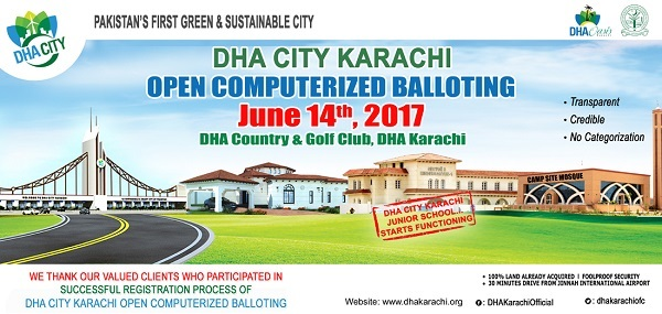 DHA City Karachi (DCK) Balloting Result Online Dated 14-6-2017