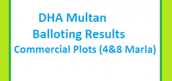 DHA Multan's Commercial Plots (4&8 Marla) Balloting Result Online Now