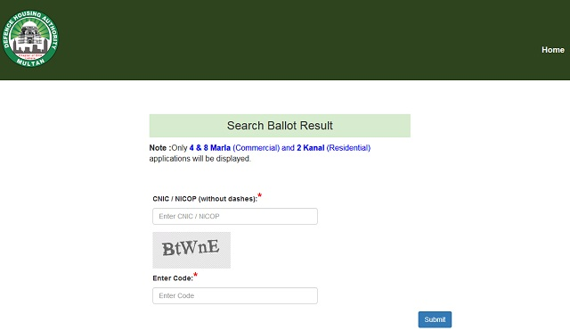 DHA Multan Search Ballot Result Webpage Picture