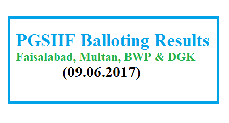 PGSHF Balloting Result June 9 2017 - Faisalabad, Multan, Bwp and DG Khan